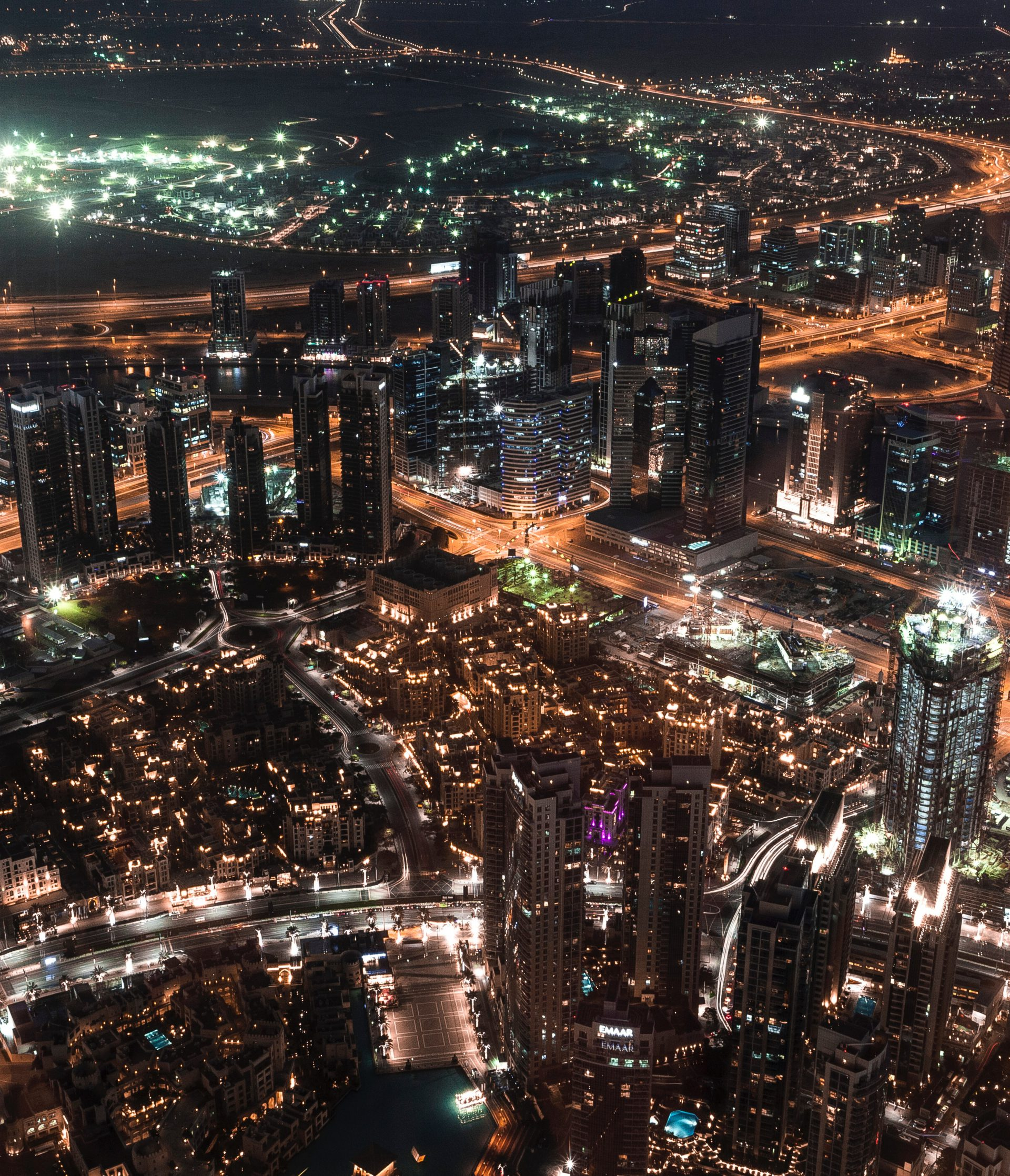 Dubai, Burj Khalifa, Skyline, Nacht, VAE, Blick auf die Stadt