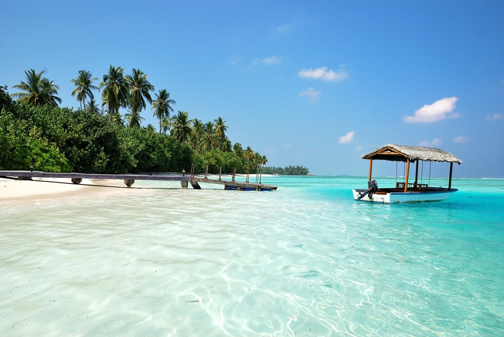 malediven strand wasser boot