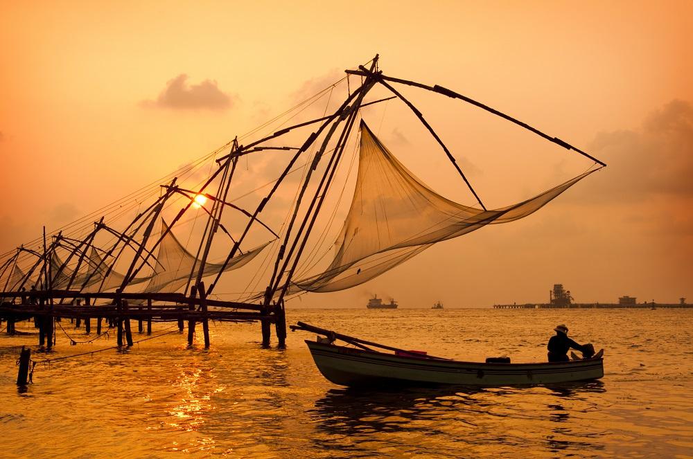 Fischernetze Sonnenuntergang Cochin Indien