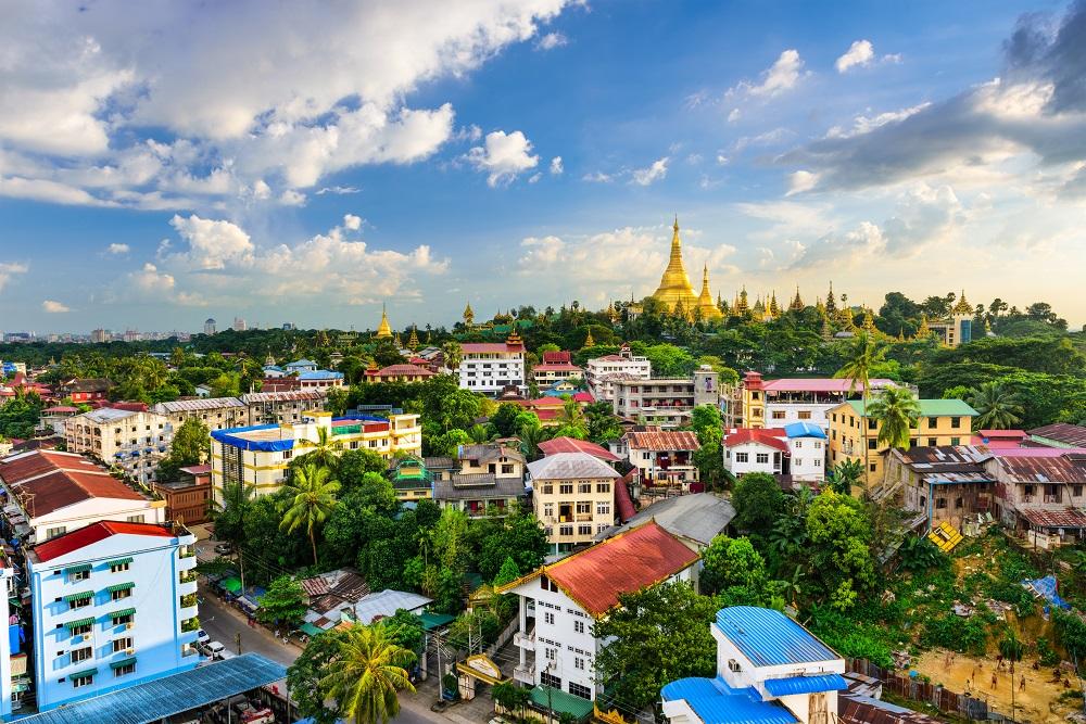 yangon myanmar pagode häuser