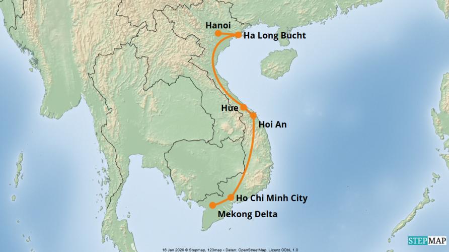 Karte der Reise: Kleingruppenreise